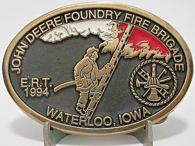 John Deere Foundry Waterloo Fire Brigade ERT 1994 Belt Buckle Ltd Ed 1/100