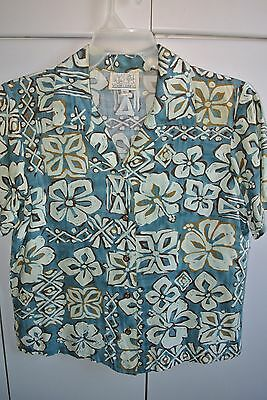 Young Hawaii  Wms Small  Tapa & Hibiscus on Blue/Mint