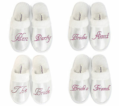 Hot Pink Hen Party Spa Slippers wedding Bride Bridesmaid personalised