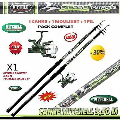canne a peche MITCHELL brochet carnassiers 3.50 m, canne +moulinet + Fil