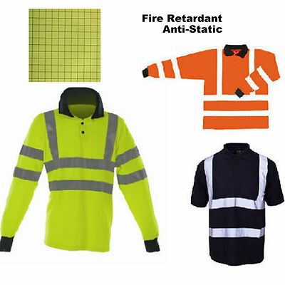 Hi Vis Flame Retardant Anti Static Polo Shirt AS Reflective Long Sleeve