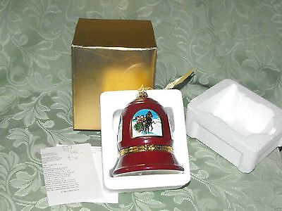 MR. CHRISTMAS MUSICAL LIMOGE ORNAMENT HOLIDAY BELL JOY TO THE WORLD BURGUNDY