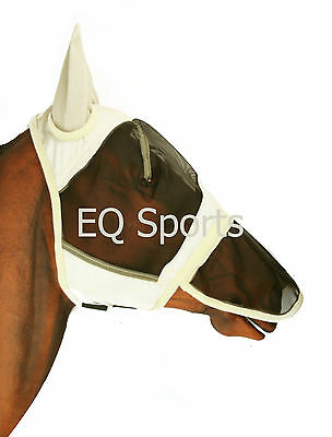 FAST P&P Full Face FLY Mask/Hood/Veil With Nose Size Pony (Small) Beige
