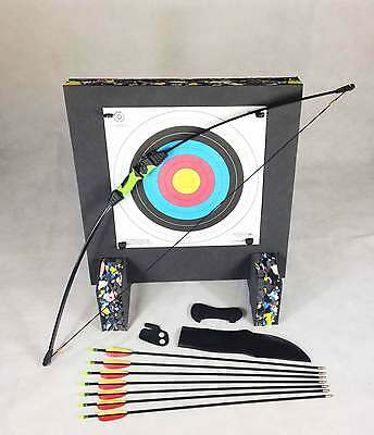 ASD Wildcat Kids Blk & Green Recurve Archery Bow 18 Lbs Package 3 W/ Target Boss