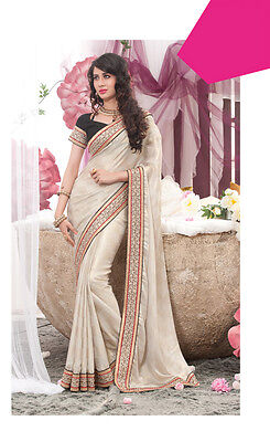 Ethnic Fancy Latest Stylish Evening New Bollywood Silver Saree Sari RS6063