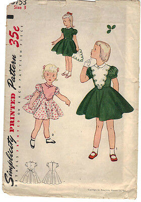 1950s Vintage Little Girl's Dress Simplicity Sewing Pattern # 3753 Sz 3