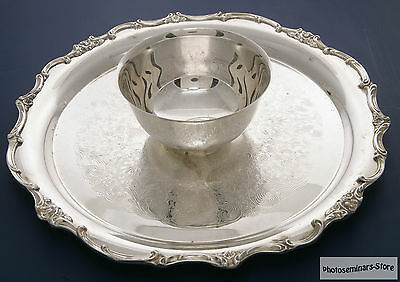 Wm Rogers Vintage Wellington Silver Plate Tray with Bowl (#805)