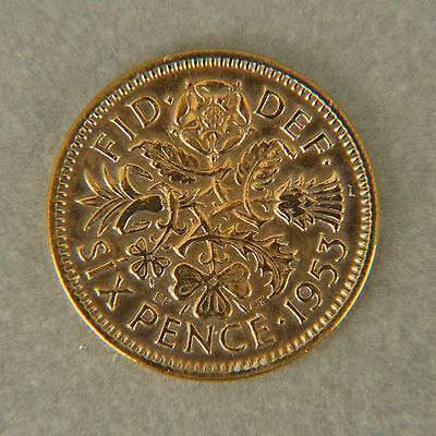 Lucky Sixpence  24ct Gold Plated 1953 - 1967 - wedding - birthday - gift