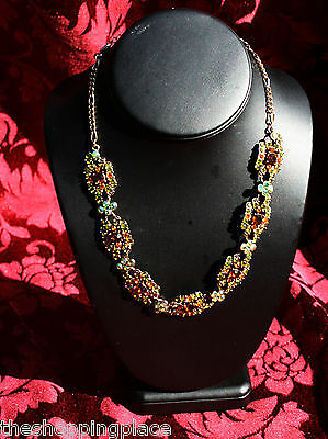 STUNNING CRYSTAL RHINESTONE RUNWAY NECKLACE SPECIAL OCCASION PARTY WEDDING GREEN