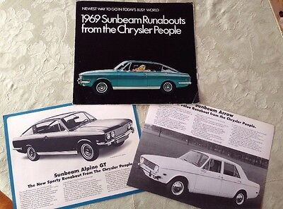 RARE Authentic Vintage SUNBEAM Runabout 3 Piece Sales Brochure 1969 Amazing