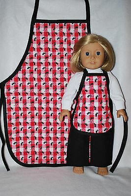 """doll clothes fit 18""""American dolls 2 aprons, girls &dolls handmade in the USA.!!"""