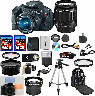 Canon EOS Rebel T3i Camera Bundle with Canon 18-55mm IS II + W/A + Tele + 32GB +