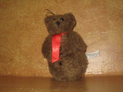 Stuffed Plush Christmas Tree Ornament Holiday Decoration Brown Snowman Bear