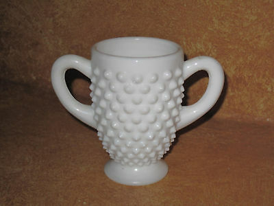 """Milk Glass White Sugar Bowl 3.5"""" Hobnail Double Handles Vintage Old Collectible"""