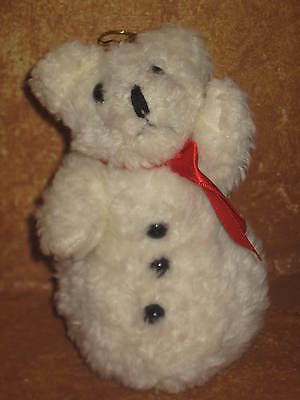 Stuffed Plush Christmas Tree Ornament Holiday Decoration Off White Snowman Bear
