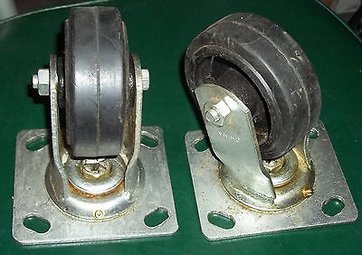 "Pair Of Heavy Duty Casters With 4"" Wheels - New Old Stock"
