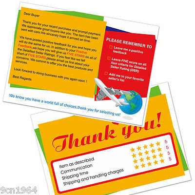 500pcs Ebay and Amazon Thank You For Your Purchase Seller Notes Card 10X7cm