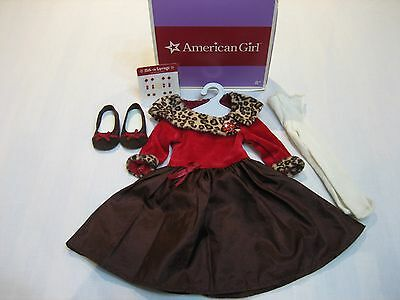 American Girl Doll Chocolate Cherry Faux Fur Holiday Outfit IOB