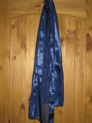 """Blue Sheer Scarf 100% Polyester Striped 60"""" Fabulous"""