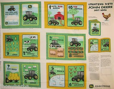 JOHN DEERE COUNTING BABY SOFT BOOK CRAFT PANEL on 100% COTTON FABRIC