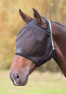 Shires fly mask hood veil, fine mesh with full face and ear holes. UV Protection
