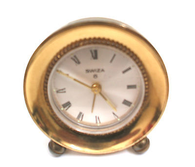 "Swiss Made Swiza 8 Gold Case Timepiece Mantle Clock 2.75""H 2.75""W 1.5""D  GWC"