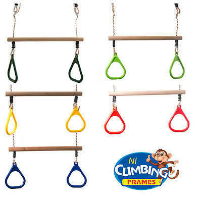 Childrens Kids TRAPEZE bar with Gym Rings Climbing Frame Swing Set OVER 700 SOLD