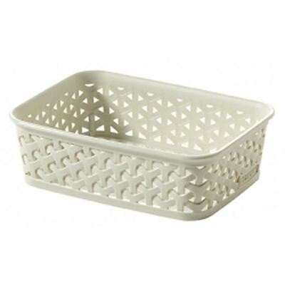 Curver My Style Vintage White Rattan A6 Stationary Paper Storage Tray Basket