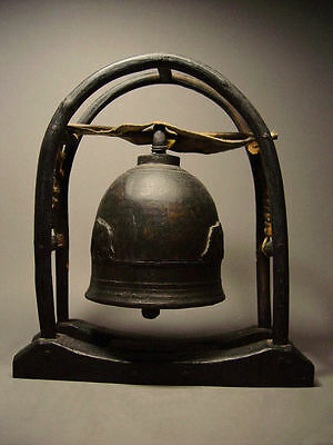 ANTIQUE SOUTHEAST ASIA HILLTRIBE BRONZE ELEPHANT BELL ON DISPLAY STAND. 19th C