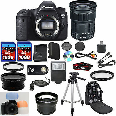 Canon EOS 6D Camera Bundle w/ Canon 24-105mm IS STM + W/A + Tele + 32GB Memory