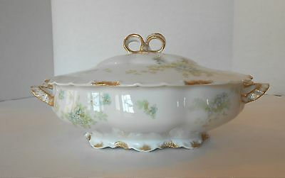 Haviland Limoges Oval Covered Casserole Gold Trim, Blue Flowers & Greenery