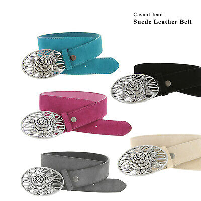 """Wide Size 30-46!! 1 1//2/"""" Suede Casual Belt With Silver Floral Cutout Buckle"""