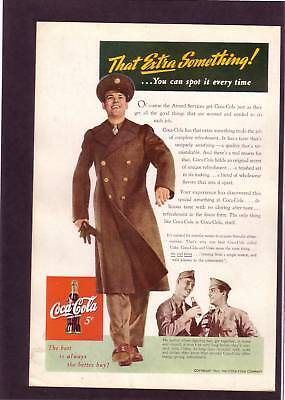 1940's Vintage Coca-Cola WW2 WWII Soldier Military Uniform Photo Art Print Ad