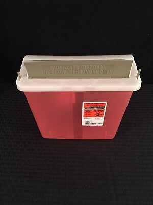 NEW LOT OF 5 KENDALL Sharps Container 5 Qt. Transparent Red w/Lid 85131