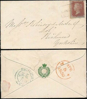 PENNY RED 1856 SCOTS LOCAL USED as CANCEL CANONGATE + MILITARY EMBOSSED FLAP ENV