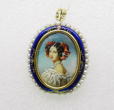 18K Yellow Gold Antique Enamel Pearl Hand Painted Victorian Lady Brooch - Lb2364