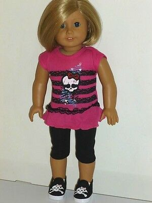 "PINK SKULL TOP + LEGGINGS + SNEAKERS OUTFIT Doll Clothes fits 18"" American Girl"