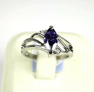 R#6106 simulated Purple Amethyst gemstone Solitaire ladies silver ring size 7