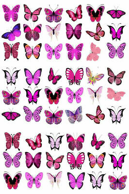 54 X Pretty Pink Mixed Butterflies Birthday Wedding Edible Cupcake Toppers M21