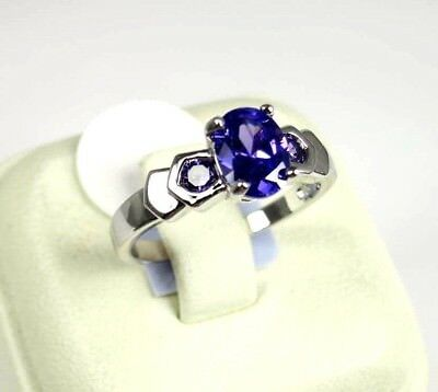 R#6141 Simulated Purple Amethyst gemstone Solitaire ladies ring silver Size 8