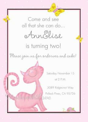 SWEET KITTY CAT Personalized Birthday Party Invitations 3rd 4th 5th 6th 7th 8th