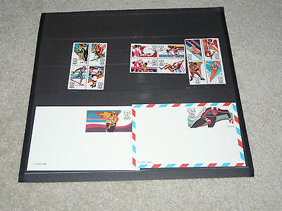PLATE BLOCKS POST CARD1984 SUMMER OLYMPIC 20 35 13 28 CENT STAMPS