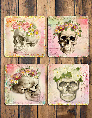 Pretty Floral Skulls Coasters Set of 4 Hardboard Glossy Gift Ideas Drink Mats