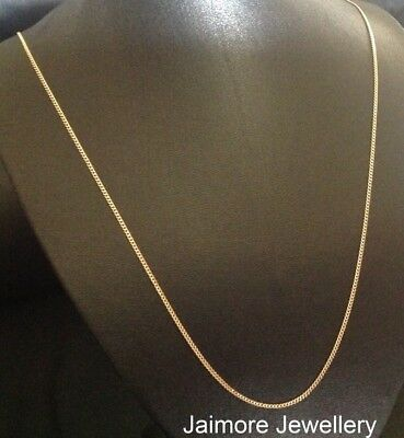 "CURB Diamond Cut 1mm Necklace Real 9K Aust Gold & 925 Silver CHAIN 24""/60cm"