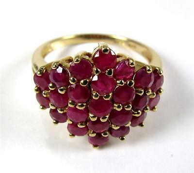 Estate 2.40CT Natural Ruby Cocktail ring 14K Yellow Gold - GORGEOUS see HD VideO