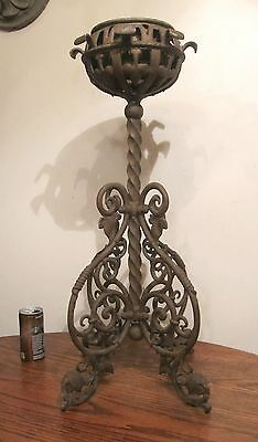large antique ornate solid heavy wrought cast iron oil lamp font stand holder
