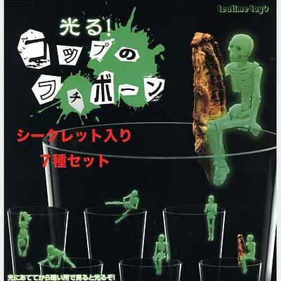 GLOW IN THE DARK for edge of cups FUCHIKO Skelton Mini Figure 7pcs set Japan