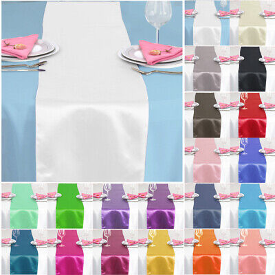 "1 5 10PCS 12x108"" Satin Table Runner Wedding Reception Banquet Party Decoration"