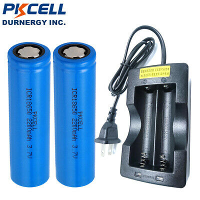 2pcs 18650 Battery + 18650 Dual Charger Unprotected 3.7V 2200mAh For Torch LED