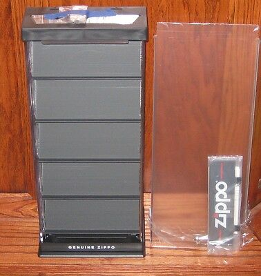 ZIPPO  COUNTER DISPLAY Acrylic Holds 15 Lighters  MINT IN ORIGINAL BOX  2 Keys
